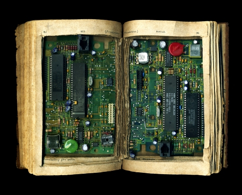 Book circuit board sculpture