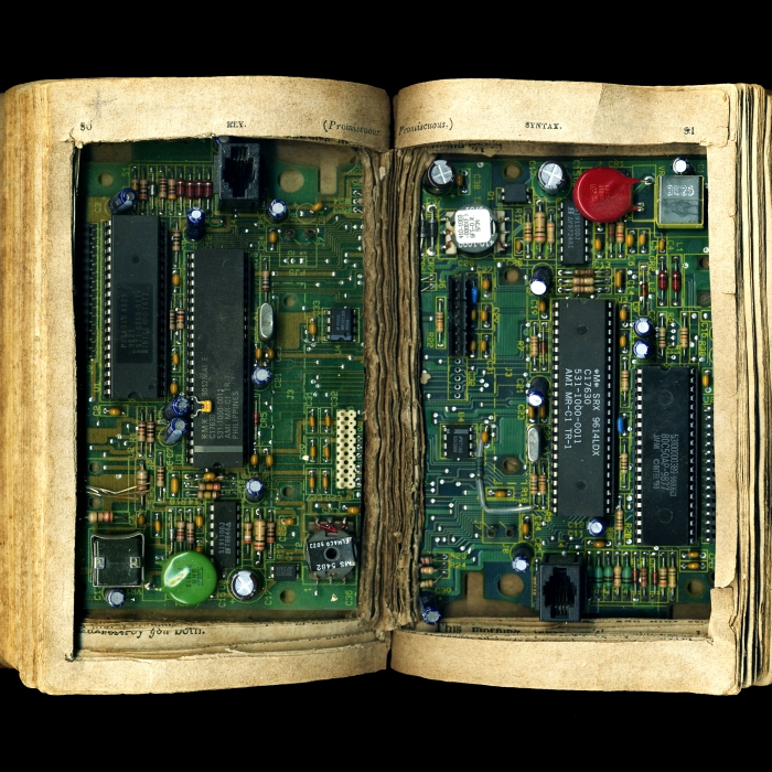 Book circuit board sculpture