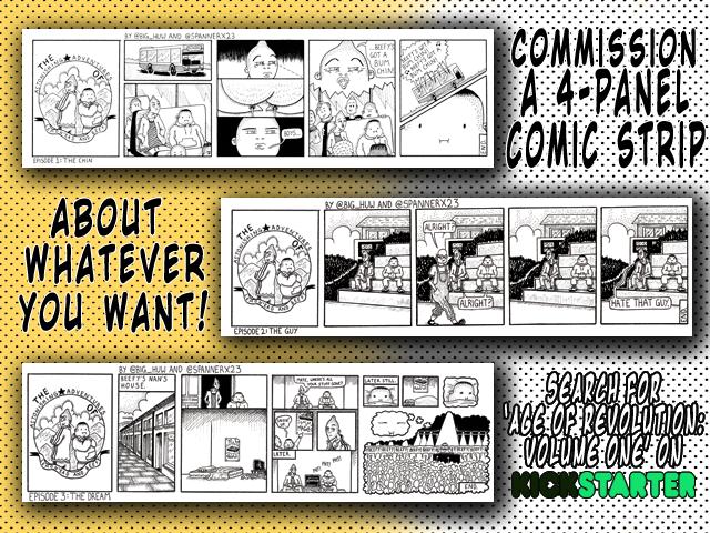 Kickstarter Advert Comic Strip Commission for Age of Revolution Volume 1 Campaign