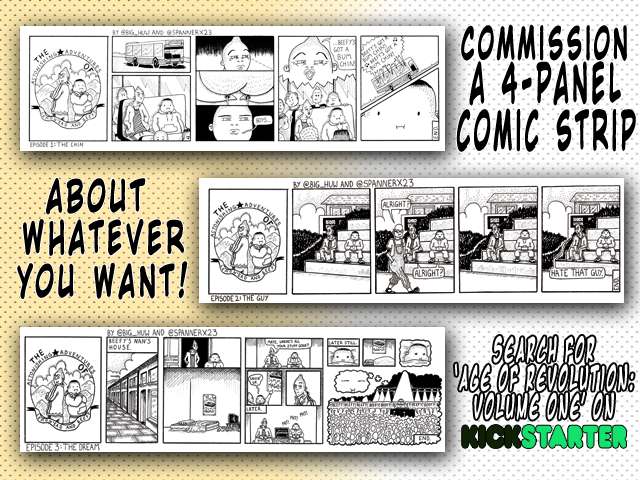 Kickstarter Advert Comic Strip Commission for Age of Revolution Volume 1 Campaign