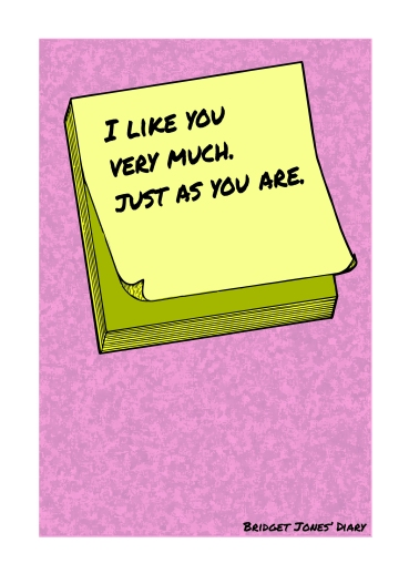 Post-It Love Notes - 'Bridget Jones' Diary'   A5 Greetings Card Design   Adobe Illustrator   2016
