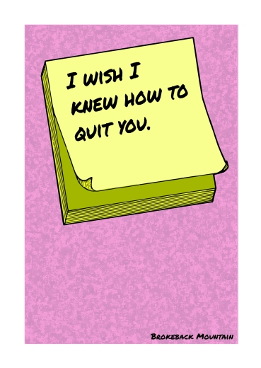 Post-It Love Notes - 'Brokeback Mountain' | A5 Greetings Card Design | Adobe Illustrator | 2016