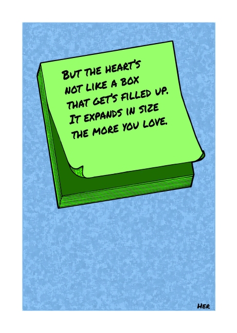 Post-It Love Notes - 'Her'   A5 Greetings Card Design   Adobe Illustrator