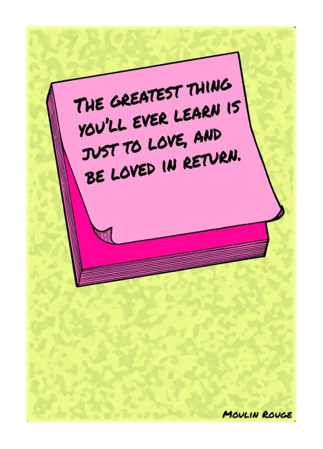 Post-It Love Notes - 'Moulin Rouge' | A5 Greetings Card Design | Adobe Illustrator | 2016