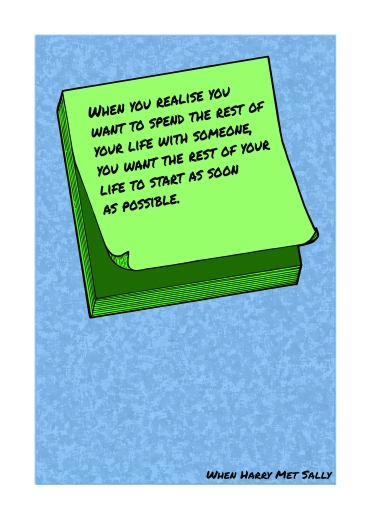 Post-It Love Notes - 'When Harry Met Sally'   A5 Greetings Card Design   Adobe Illustrator   2016
